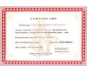 Certificado de adestramento de cães curso SIborg
