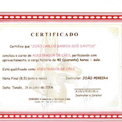 Certificado Curso Adestrador de Cães