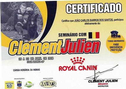 Certificado Seminário adestramento de Cães Clement Julien